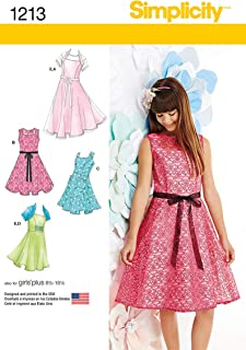 Simplicity 1213 Girls' and Plus Size Girl's Dress and Knit Shrug Sewing Patterns, Sizes AA (8-10-12-14-16)
