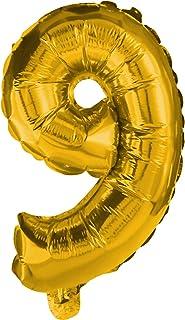 Procos Number 9 Golden Foil Balloon (2.7ft / 85cms)