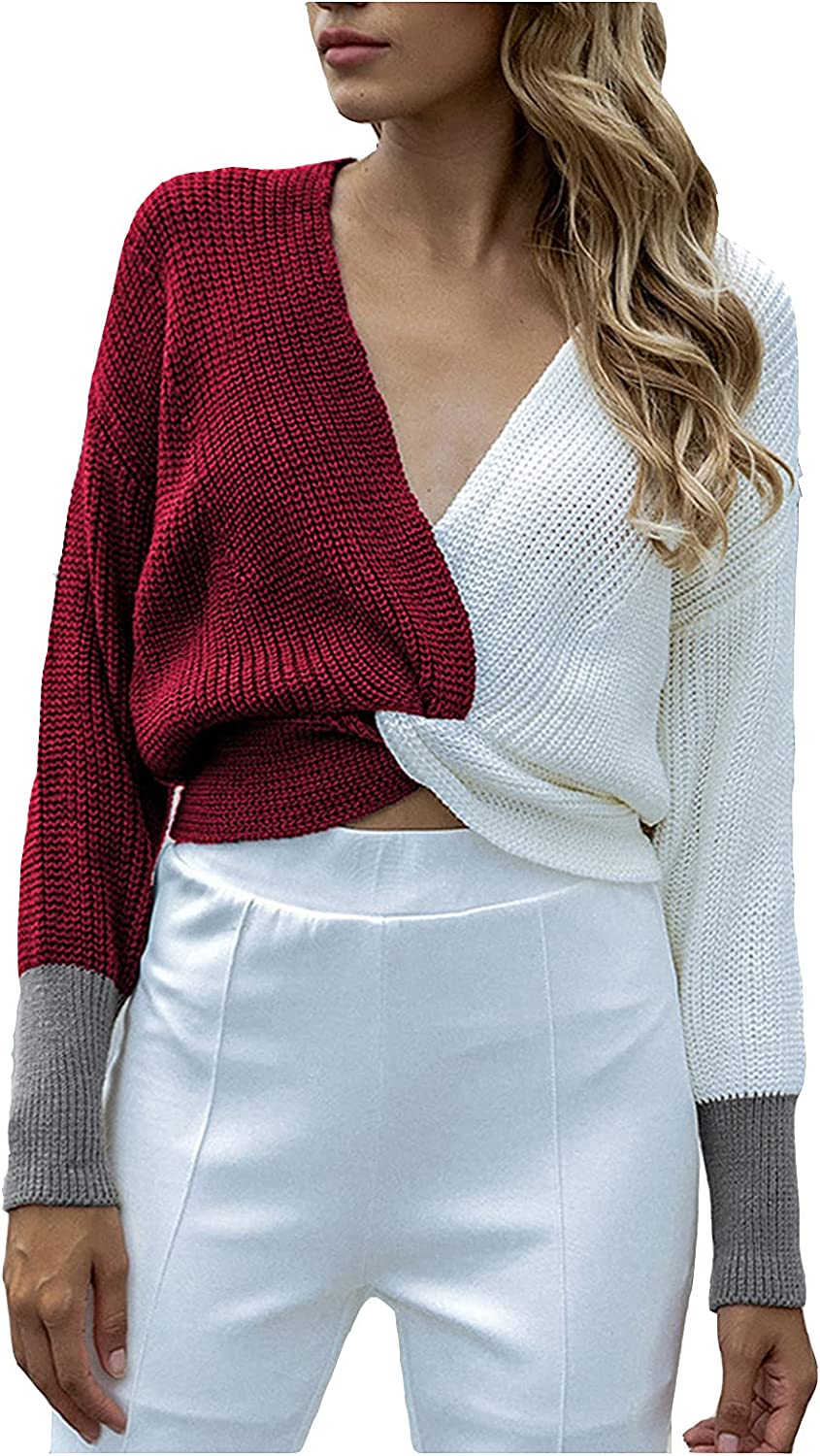 keeljoyplay Patchwork Stitching Crop Sweater Sexy V-Neck Color Block Knitted Ribbed Pullover Casual Formal Tunic Jumper