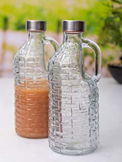 STAR WORK - 1 PCs Transparent & Clear Crystal -Toned Airtight Glass Bottles 1L [ for Homemade Beverage/Ice Tea/Milk/Coffe...