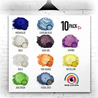 Eye Candy Mica Powder - Pigment Powder 10-Pack Set D - Colorant for Epoxy - Resin - Woodworking - Soap Molds - Candle Making - Slime - Bath Bombs - Nail Polish - Cosmetic Grade - Non-Toxic