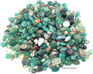 CoolZest Green Agate Tumbled Chips Decorative Crushed Stones for Vase Filler, Small Succulent Plants, Terrarium, Lucky Bamboo Plant, Craft, Aquarium, Table Scatter, (1.2 pounds/Box)