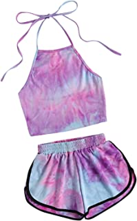 Jollymoda Women's 2 Piece Boho with Floral Print Crop Cami Top and Shorts Set