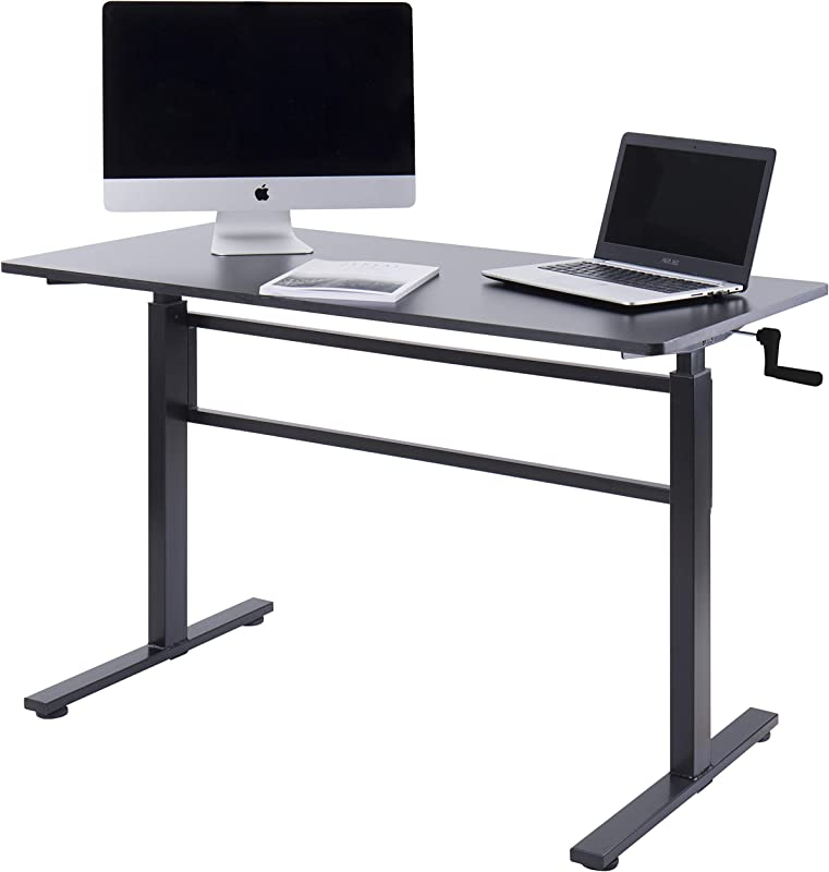 UNICOO Crank Adjustable Height Standing Desk Adjustable Sit To Stand Up Desk Home Office Computer Table Portable Writing Study Table Black Top Black Legs