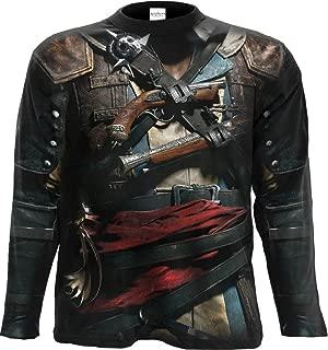 Mens - Assassins Creed IV Black Flag - Allover Licensed Longsleeve T-Shirt Black