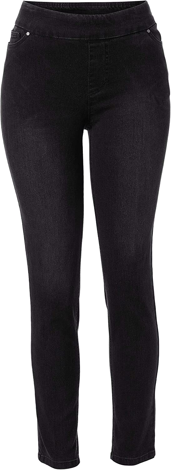 SLIM-SATION Women's Pull-on Jean Style Solid Ankle Pant