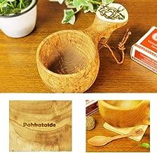 北欧フィンランド木製 本物ククサ Kuksa Pahkataide(パッカタイデ)ヴィサコイブ/カーリーバーチ トナカイの絵柄ツノ飾り 説明書 箱包装 木製ヴィンテージスプーン