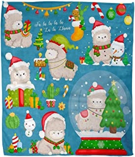 Suike Throw Blanket 60x80 Inches Luxury Flannel Christmas Elf A of Cute Llama Wearing Stuffs and Microfiber Print Soft Cozy Warm Wrinkle Resistant Couch Bed Throws Sofa