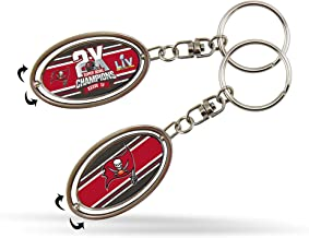 Rico Industries NFL Tampa Bay Buccaneers 2 Time Super Bowl Champs Metal Spinner Keychain