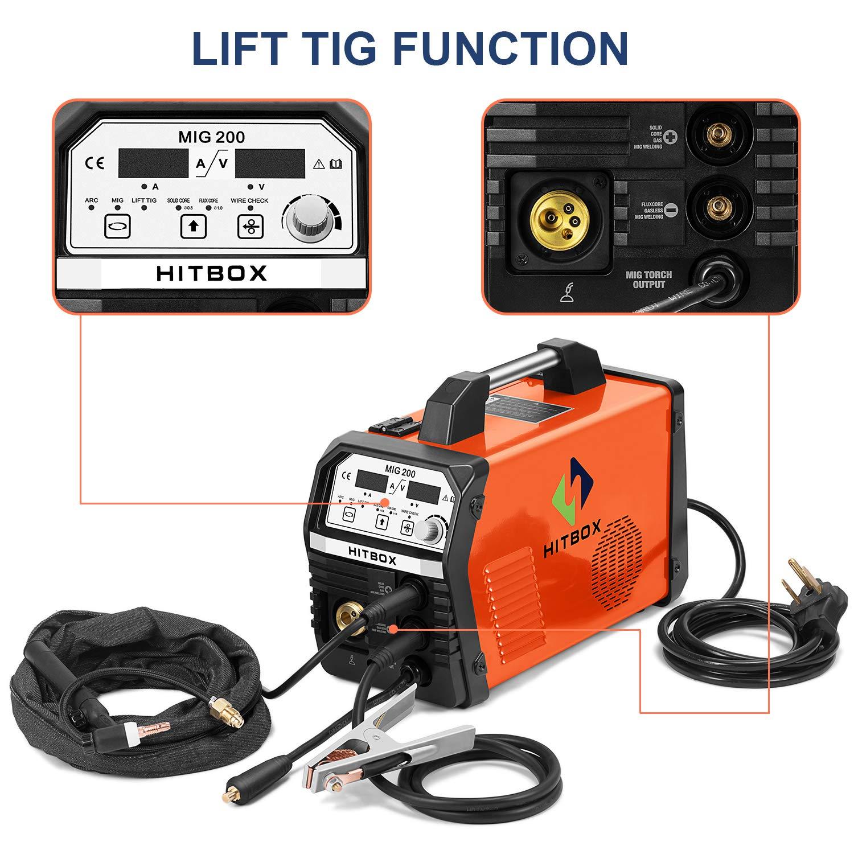 HITBOX Soudeur MIG 120A 220V Onduleur LIFT TIG ARC Machine de soudage MIG sans gaz Flux Wire Wire 3 en 1
