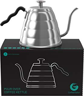 Coffee Gator Pour Over Kettle - Precision-Flow Gooseneck Spout and Thermometer - Brew Barista-Standard Hand Drip Coffee and Tea - Suitable for all Stovetops Including Induction - 40 Ounce
