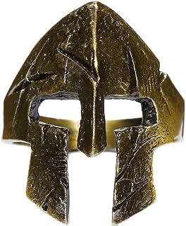 W WOOGGE Men's Gothic Biker Punk Vintage Ring Spartan Mask Helmet Nordic Pagan Adjustable Viking Rings