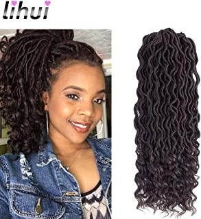 Lihui 6pcs/lot Goddess Locs Crochet Hair Wavy Faux Locs with Curly Ends Synthetic Braiding Hair Extension (20inch(6-PACKS), 4)