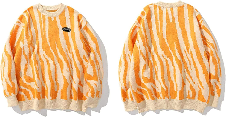 Hip Hop Zebra Pattern Knitted Sweaters Sweater Pullover Men Retro Street Clothing Graffiti Vintage Sreetwear
