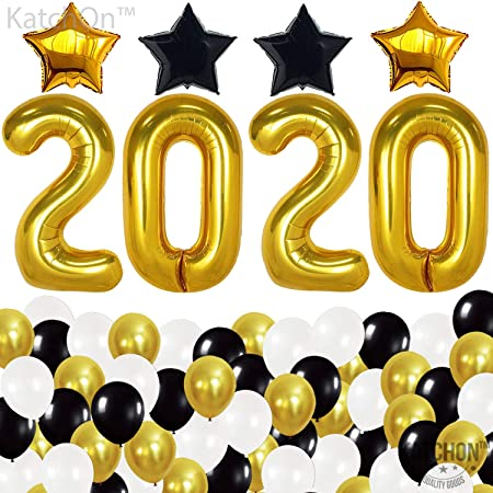 Home Decorations Gold White and Black Balloons Sets Paper Pom Poms with Gold Foil Curtain for Graduations Party Supplies New Years Eve Party Supplies 2020 Decorations Kit New Years Eve Decorations