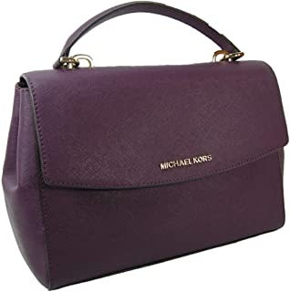 73a20e8f1f9e New Michael Kors Logo Purse Cross Body Shoulder Hand Bag Genuine Purple  Leather