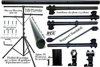 Trípode luces profesional con 3barras horizontales–Altura 360cm para efectos luz Máquinas de Humo Strobo–Soporte para faros y reflectores Teatro