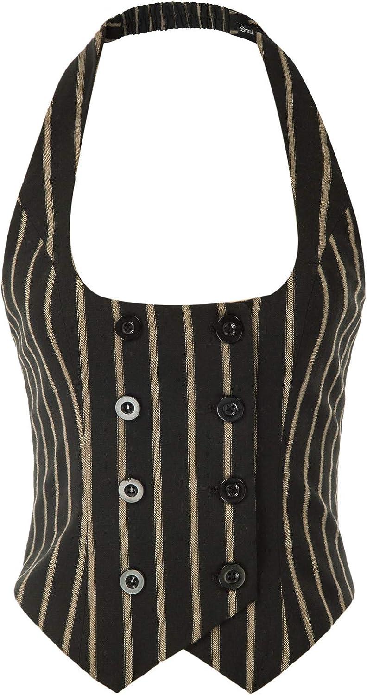 SCARLET DARKNESS Women Renaissance Waistcoat Halter Vest Button Down Dressy Vest