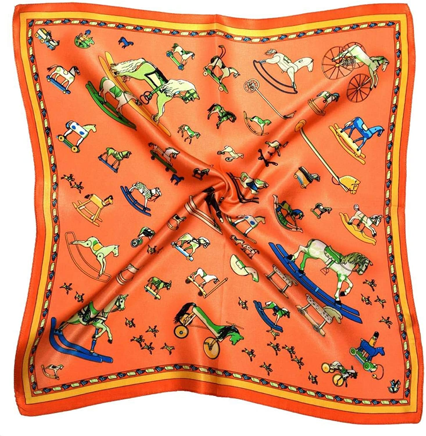 orange Toy Horses Thick Silk Small Square Scarf