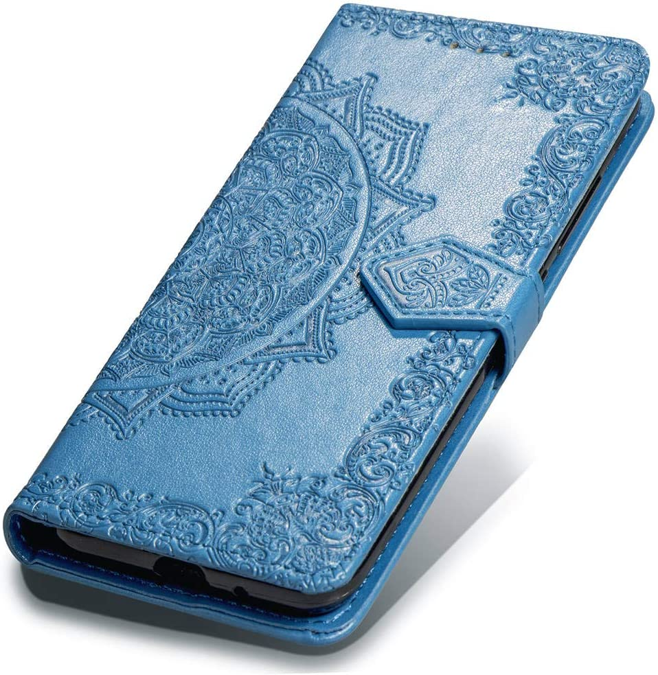 Wallet Case Compatible with iPhone Xs Wallet Case (5.8 inch), Wrist Strap [ Embossed Mandala Flower] PU Leather Wallet Case with [Kickstand Feature] for iPhone Xs 5.8