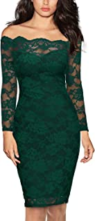Miusol Women's Vintage Off Shoulder Flare Lace Slim Cocktail Pencil Dress