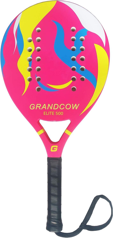 GRANDCOW Beach Paddle Padel Tennis Racket Carbon Fiber Surface 30mm Depth EVA Memory Foam Core POP Tennis Paddle Rackets with Extra Long Handle