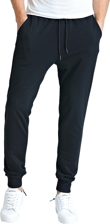 Bertte Men's Basic Outdoor Casual Slim Fit Elastic Comfortable Fleece Jogger Pants