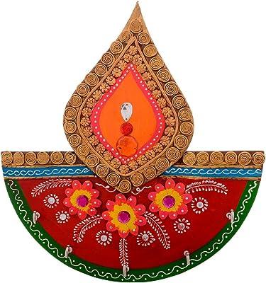 eCraftIndia Tilak Design Papier-Mache Key Holder (24 cm x 1 cm x 25 cm, Red, Pink, Golden and Green)