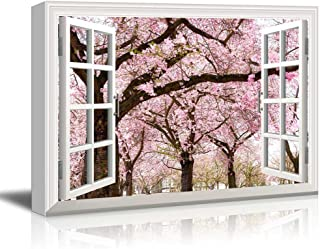 Canvas Print Wall Art - Window Frame Style Wall Decor - Pink Cherry/Sakura Blossom in Spring | Giclee Print Gallery Wrap Modern Home Decor. Stretched & Ready to Hang - 24