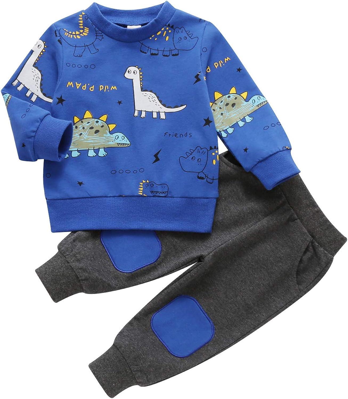 Todder Baby Boys Clothes Long Sleeve Sweatshirt Pants Little Dinosaur Fall Winter 2pcs Outfits Set