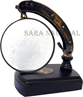 Sara Nautical Table TOP Desk Brass MOVEABLE Magnifier WATTS & SONS LTD Magnifying Glass Descr