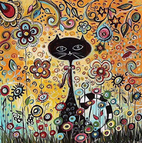 YDPTYANG Puzzle 1000 Pieces - Chat Noir en Fleurs abstraites Adultes Enfants en Bois Puzzle...