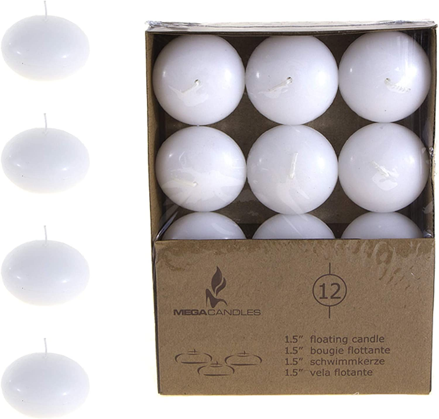 Mega Candles 12 pcs Unscented White Oakland Outstanding Mall Candle Hand P Floating Disc