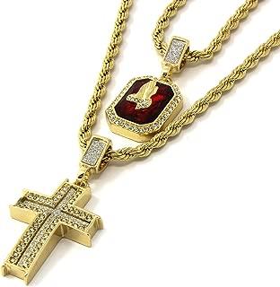 Jewel Town Mens Gold Cross & Ruby Bundle Set Cz Pendant Hip Hop 24