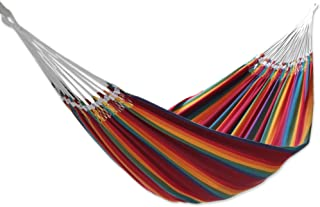 NOVICA Hand Woven Multi-Color Striped Cotton 2 Person Hammock, 'Brazilian Rainbow' (double) - HAM0010