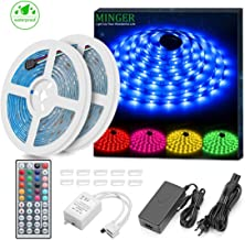 Minger LED Strip Lights Kit, Waterproof 32.8ft 5050 RGB 300led Strips Lighting Color Changing Rope Lights with 44 Key IR Remote Ideal for Room, Home, Kitchen, Party, DC 12V/3A UL Listed (Renewed)