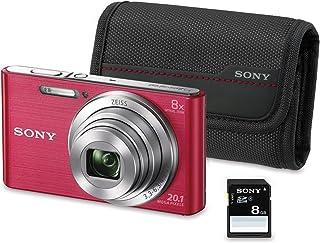 Sony DSC-W830 - Cámara compacta de 20.1 Mp (pantalla de 2.7 zoom óptico 8x estabilizador óptico) rosa - Kit cámara + Funda + SD 8 GB