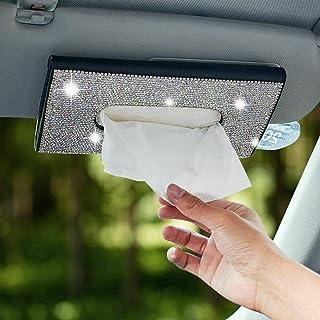 Newl Glitzer Tücherbox für Auto Sonnenblende, PU Leder Taschentuchetui, handgefertigt, glitzernder Kristall Taschentuchhalter für Damen