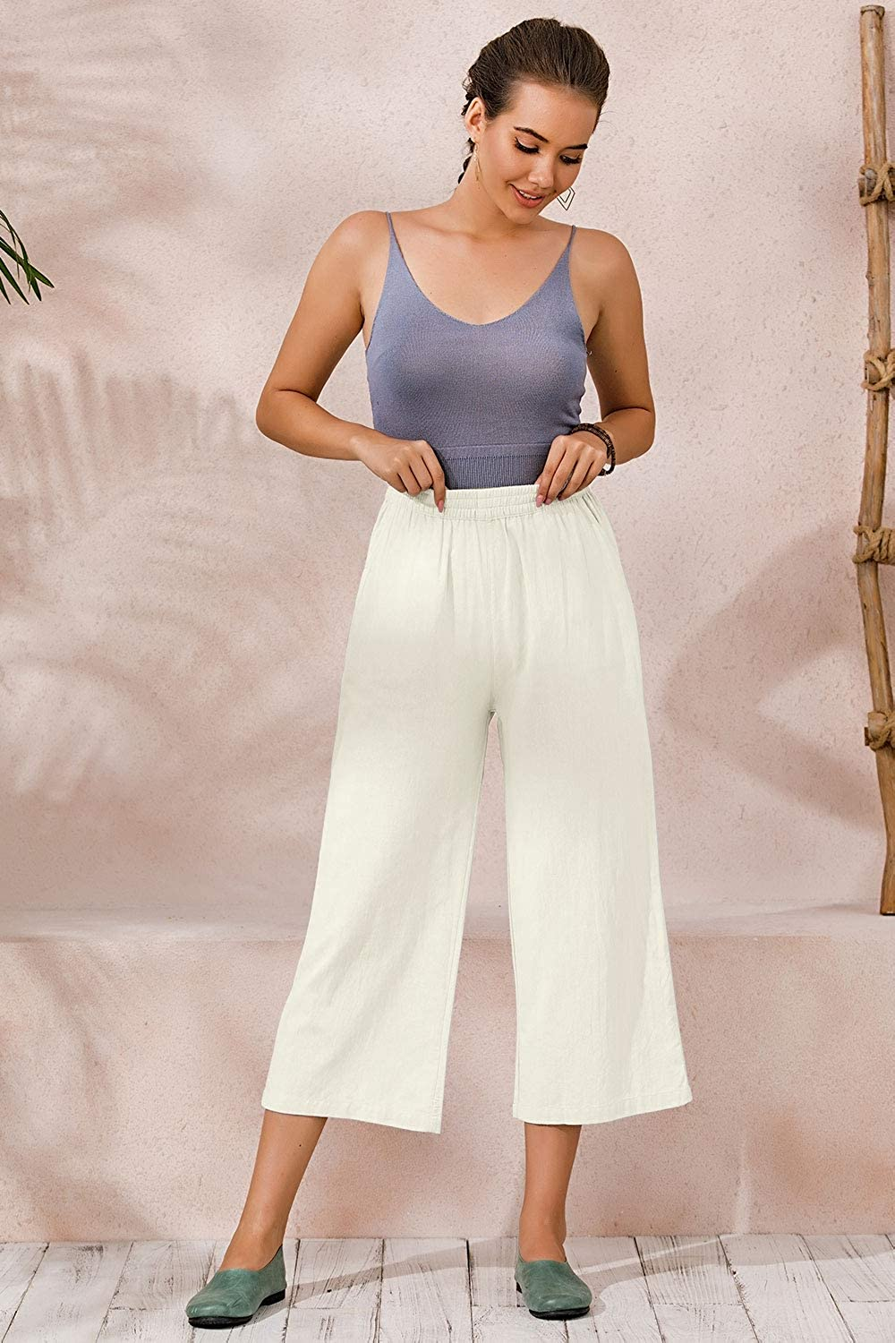 Ecupper Womens Plus Size Elastic Waist Cotton Capri Pants Relaxed Loose Casual Cropped Trousers