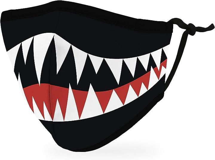 Mascherina per bambini - bocca di mostro - in tessuto riutilizzabile e regolabile con tasca per filtro 5639-10