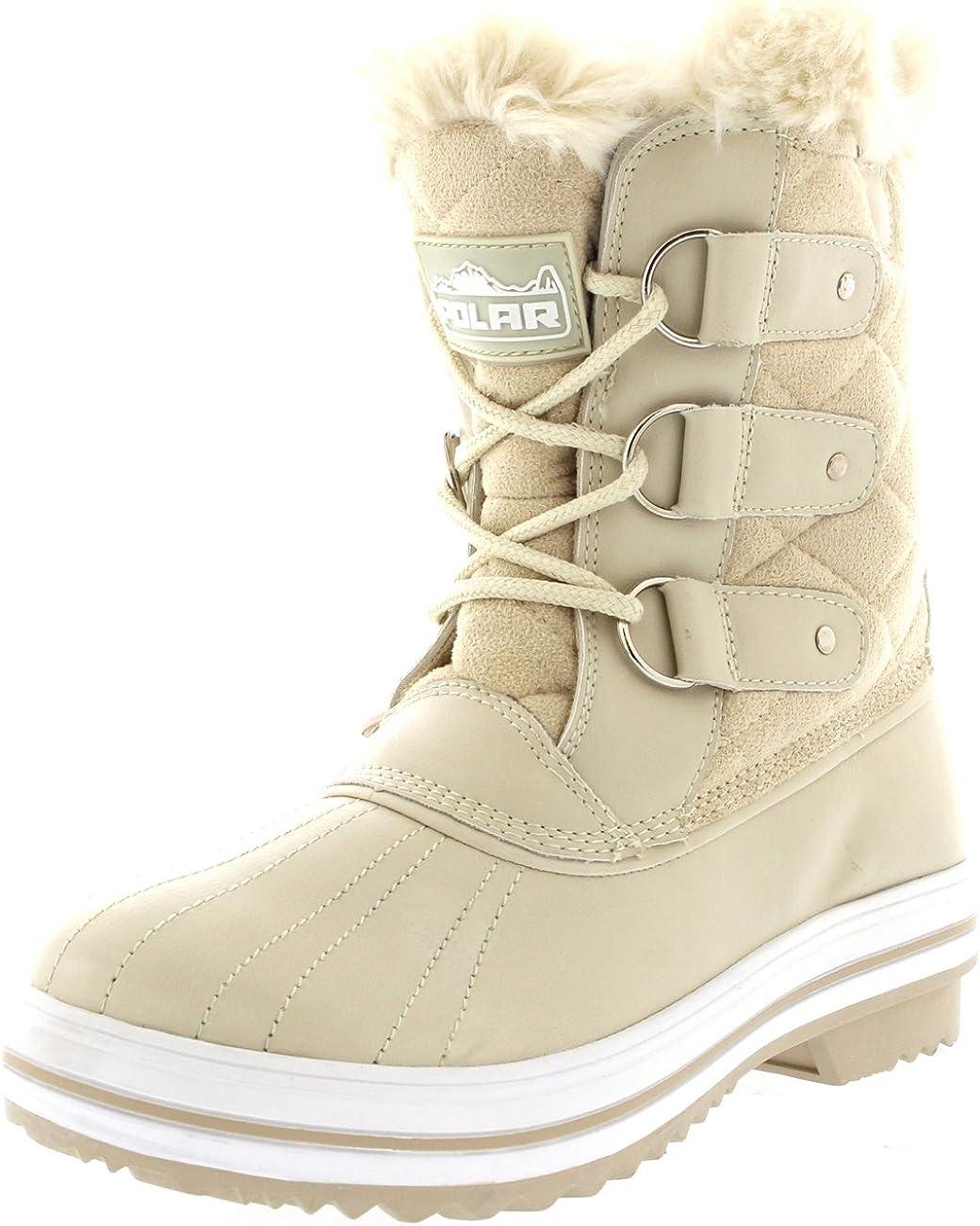 Womens Snow Boot Quilted Short Winter Snow Rain Warm Waterproof