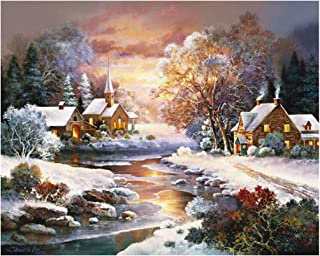 DIY Oil painting-16X20 Inch,Paint by Numbers kit for Adults Beginner,Do-it-Yourself Wall Decoration Oil Painting (Winter Cottage)