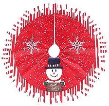 KESYOO Christmas Tree Skirts 32 Inch Christmas Tree Carpet with Snowman Pattern Xmas Tree Mat Tree Collar Xmas Party Ornam...