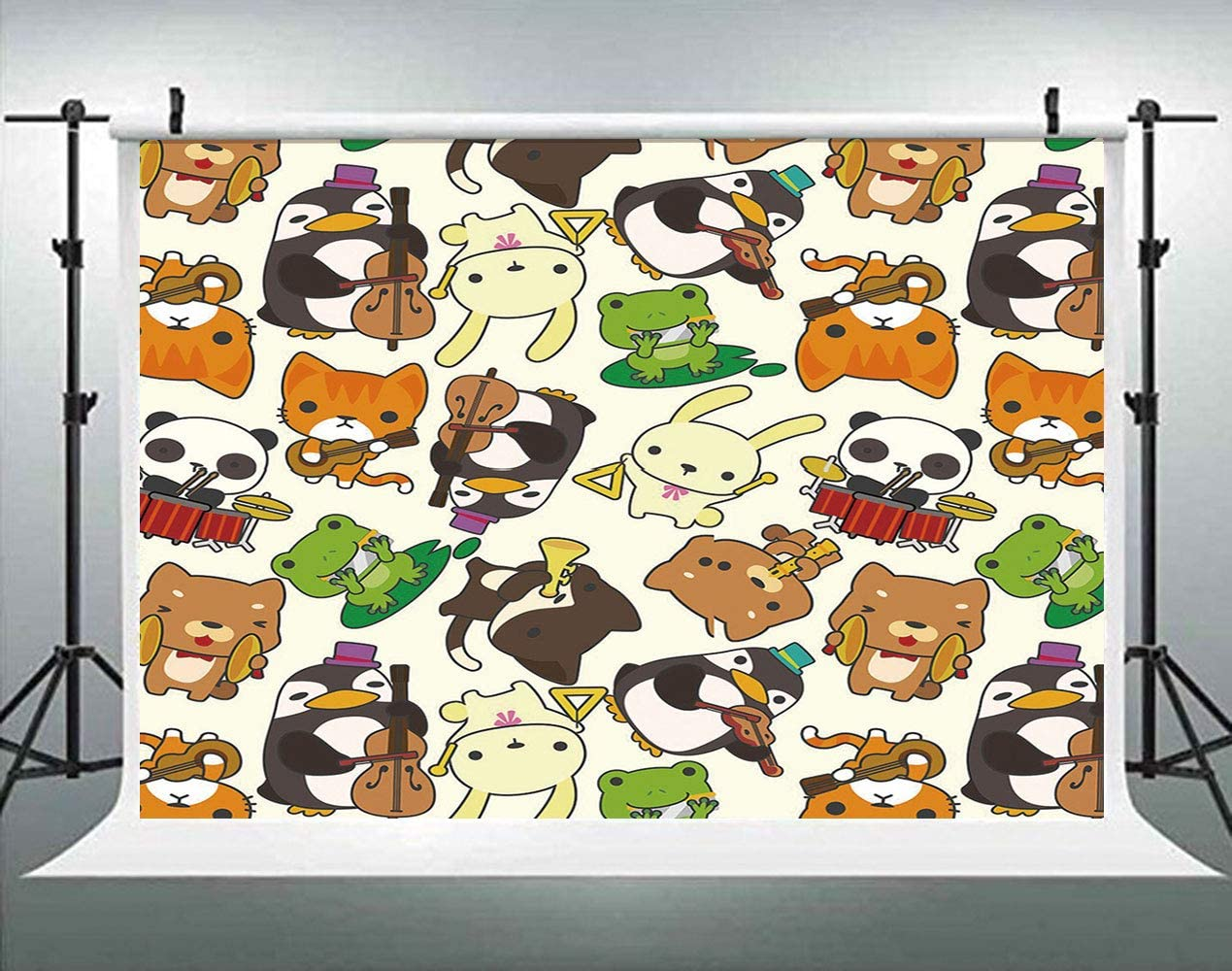 Cartoon Designed Baby Duck Bird and Fox Against Sun Beams Backdrop for Selfie Birthday Party Pictures Photo Dance Decor Wedding Studio Background AM024467 ALUONI 5x3ft Nursery