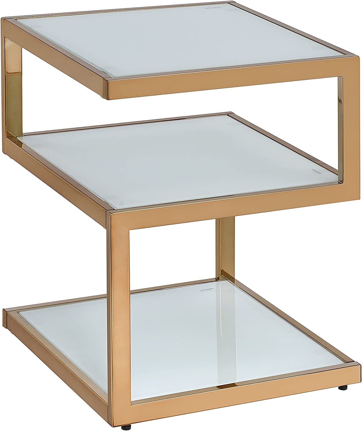 ACME Alyea Side Table - - Champagne & Frosted Glass