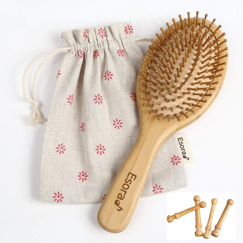 天然 竹櫛 ヘアブラシ 頭皮 マッサージ 静電防止 薄毛 ヘアケア 木製 ????????? (楕円型)
