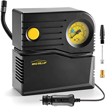 Windgallop Car Tire Inflator Portable Mini Air Compressor for Car Tires 12v Analog Tire Pump Car Air Pump with Pressure Gauge Valve Adaptors for Bike Automobiles Basketball Pool Toys Balloon (Yellow): image