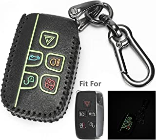 Marchfa Leather Key Case Cover Protector for Land Rover Discovery Freelander2 Range Rover Velar Evoque Sport Jaguar XF XJ XE F-PACE F-Type, 5 Buttons Keyless Entry Remote Case Key Holder