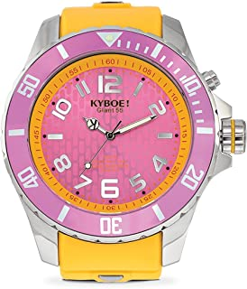 KYBOE! Power Stainless Steel Quartz Watch with Silicone Strap, Yellow, 26 (Model: KY.55-024.15