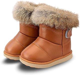 أحذية WYSBAOSHU للشتاء والثلوج للبنات دافئة في الهواء الطلق أحذية مسطحة من الفرو الصناعي (للأطفال الصغار/الأطفال الصغار)